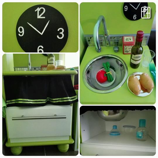 Diy fabriquer une cuisine pour enfant avec deux tables for Table de chevet pour enfant