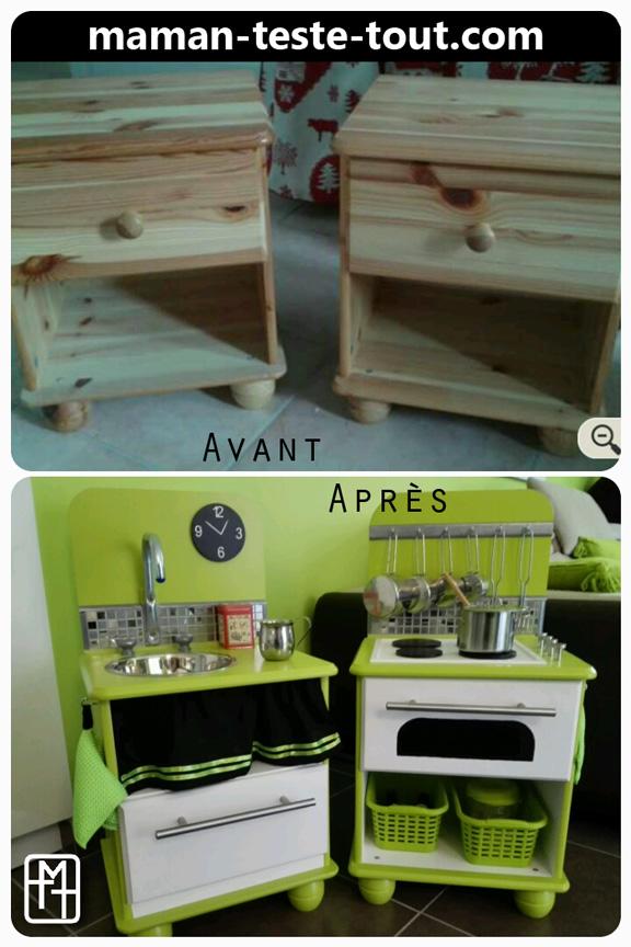 Diy fabriquer une cuisine pour enfant avec deux tables Fabriquer table cuisine